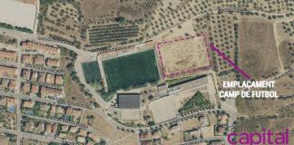 Imatge satèl·lit de l'espai actual on s'instal·larà el camp de futbol i de rugbi a Torroella