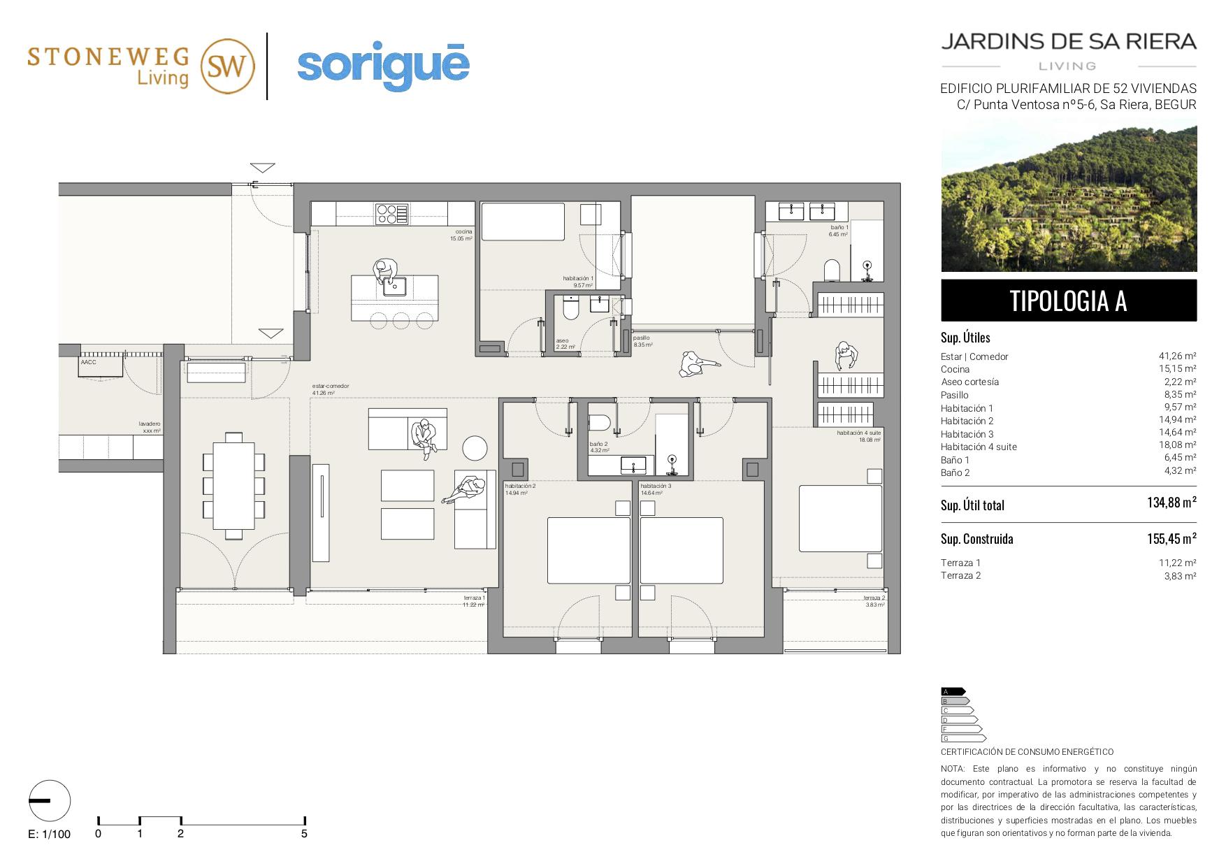 Plànol d'un dels apartaments de la urbanització Jardins de Sa Riera | Imatge de Stoneweg Living
