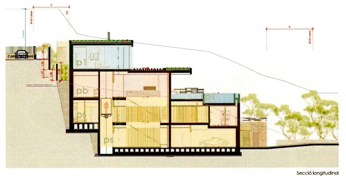 Secció longitudinal de l'habitatge a la Cala Port des Pi a Begur